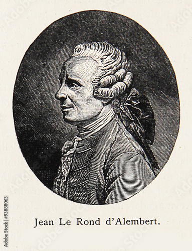 Engraving/Portrait of Jean-Baptiste le Rond d'Alembert, renowned 18th century mathematician, physicist, philosopher, and music theorist, co-editor of the Encyclopedie Wall mural