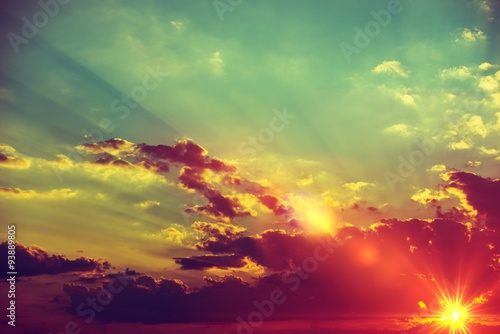 Poster Olive Sunset Scenery Background