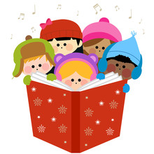 Boys And Girls Singing Christmas Carols Holding Together A Large Book.