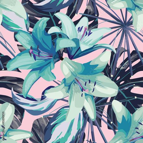 niebieska-lilia-i-pozostawia-bezszwowe-tlo