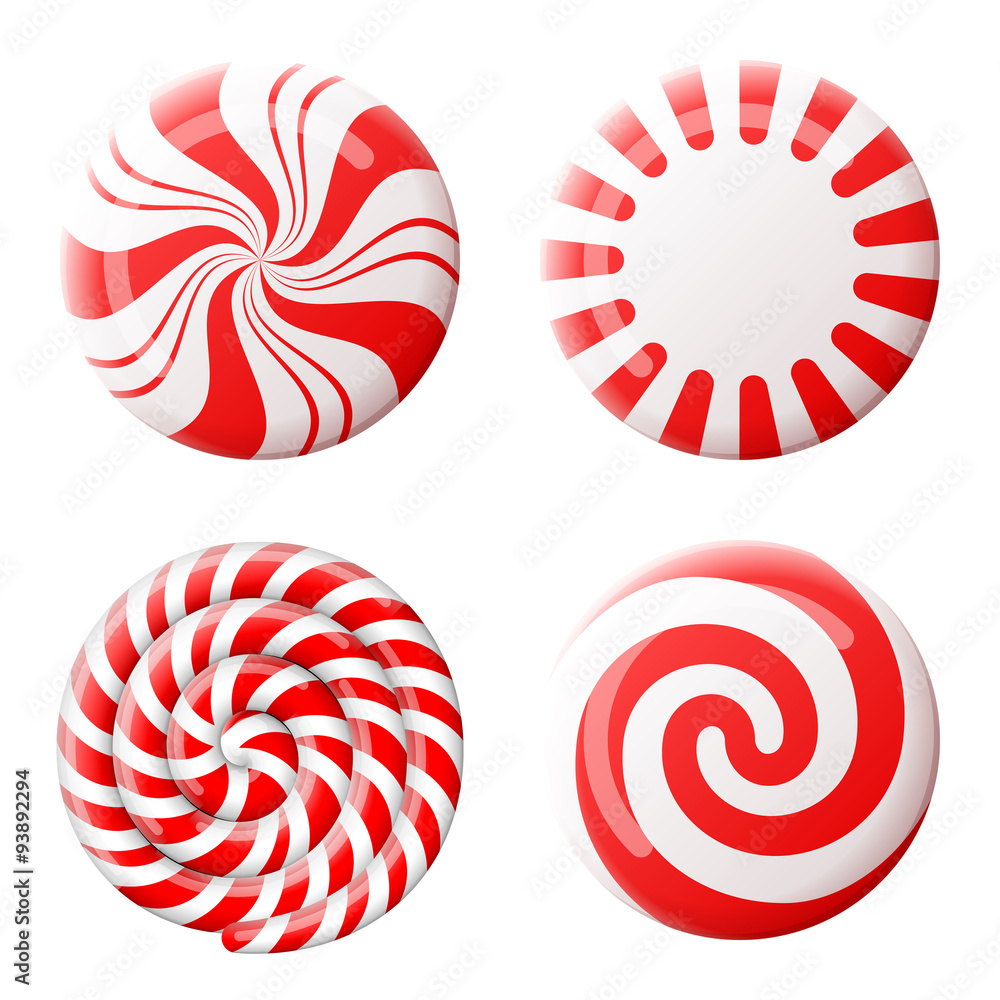 Poster Foto Christmas Round Candy Set Peppermint Candies Without