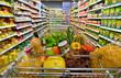 canvas print picture - Einkaufswagen in einem Supermarkt