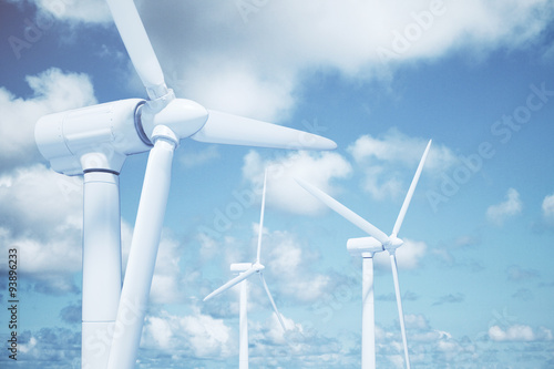 Fotografia  Windmills in the water with sky background