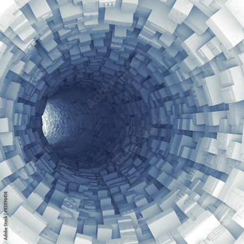 Blue tunnel with technological extruded segments