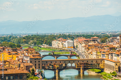 Spoed Fotobehang Europa Pone Vecchio over Arno river in Florence, Italy.