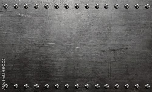Fotografie, Obraz  Metal background, riveted metal plate