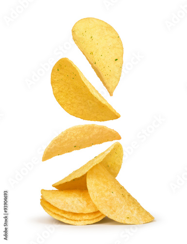 Fotografie, Obraz  potato chips falling in the air on an isolated white background