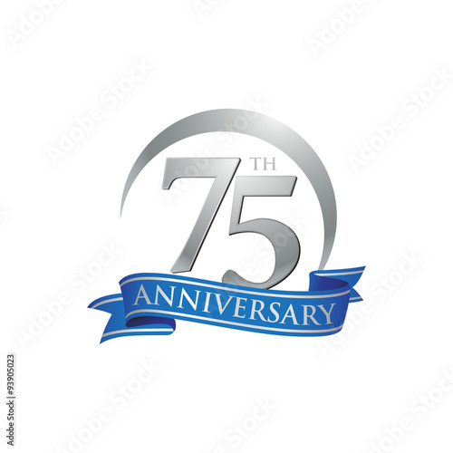 75th anniversary ring logo blue ribbon Poster
