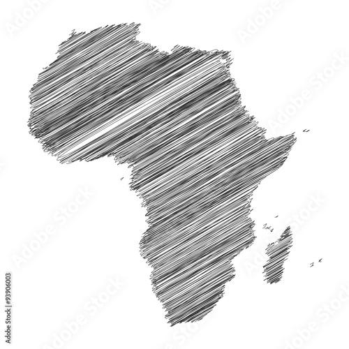 Fotografie, Obraz  Africa Map Hand Drawn Scribble