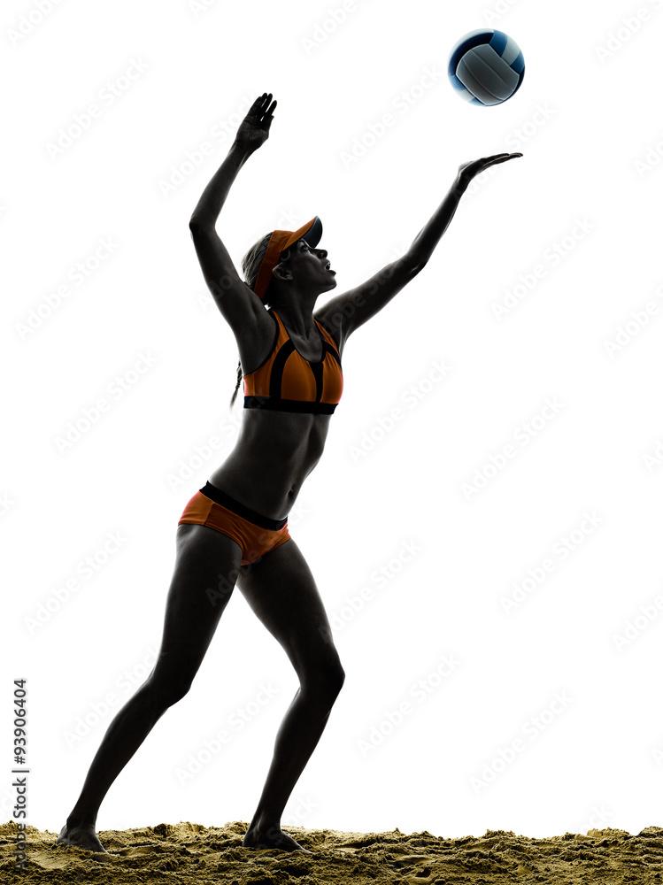 Fotografía Playa de la mujer del jugador de voleibol de la silueta ...