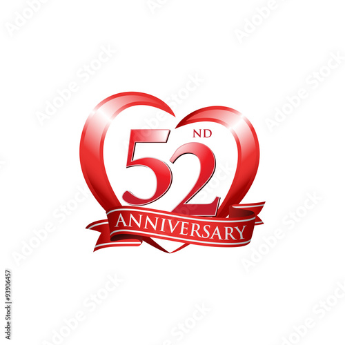 Fotografía  52nd anniversary logo red heart ribbon