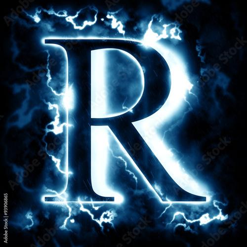 Photo  Lightning letter R