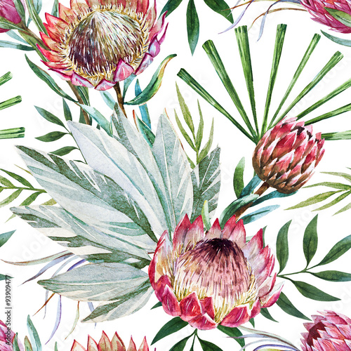 Cotton fabric Raster tropical protea pattern