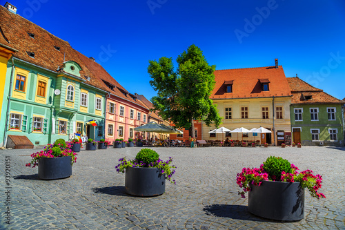 Fotografie, Obraz  Medieval street cafe bar,Sighisoara,Transylvania,Romania,Europe
