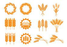 Orange Cereal Icons On White Background