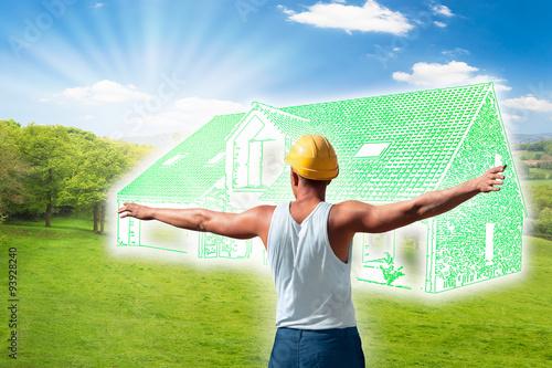 Fototapeta Construction Maison Verte