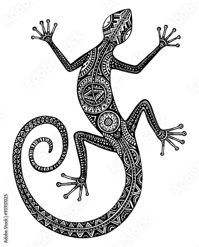 Photographie  Vector hand drawn lizard or salamander with ethnic tribal patter