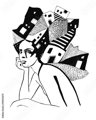 czarno-bialy-portret-kobiety-z-budynkami-na-glowie