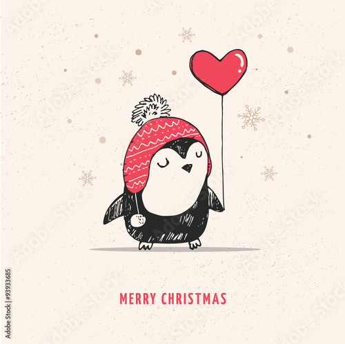 Cute hand drawn penguin with red heart balloon Fototapete