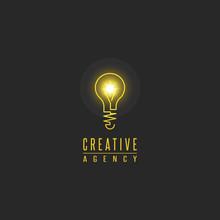 Light Bulb Logo, Lamp Shine Creative Innovation Sign, Web Development, Advertising, Design Agency Emblem, Idea Power Technology Mark