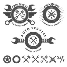 Auto Service Labels Emblems An...