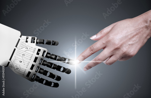 Photo  Robot human hand connection