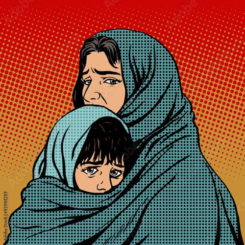 Obraz na płótnie Refugee mother and child migration poverty