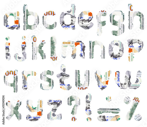 26 isolated small letters of English alphabet and other