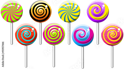 Fotografie, Obraz  Collection of Spiral Swirly Lollipops isolated