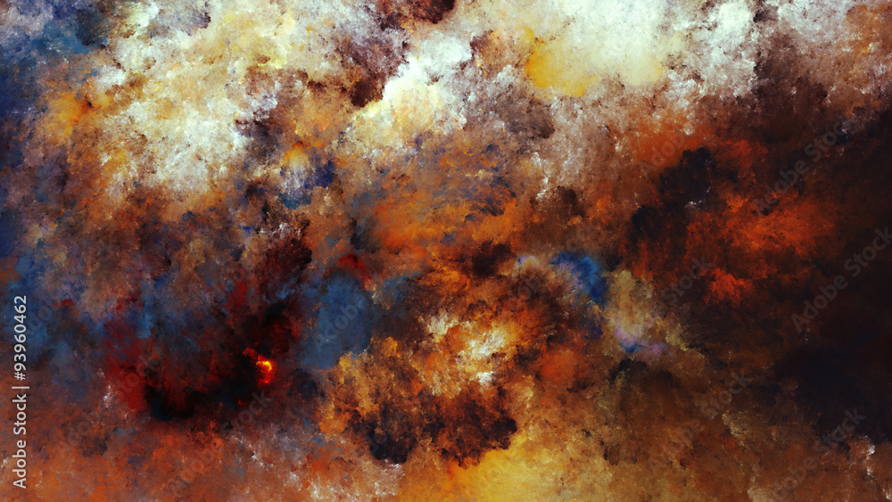 Fototapeta Watercolor abstract painting of colorful clouds