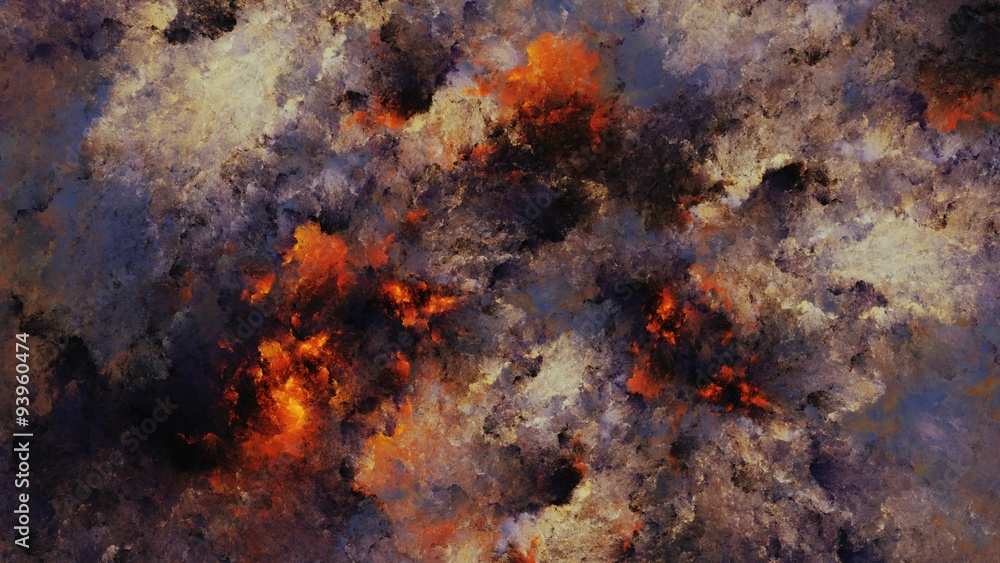 Fototapeta Watercolor abstract painting of the sky on fire