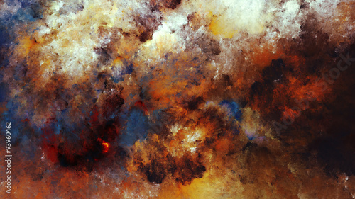 Watercolor abstract painting of colorful clouds