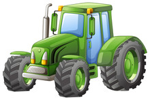Green Tractor With Big Wheels