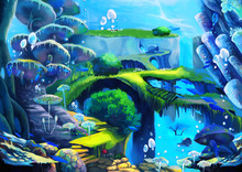 Illustration: Underwater World: Waterfall Under The Sea; Flying Fish; Bridge; Stone Stairs. A Harmonious Community Here. Story With Fantastic Cartoon Style Scene Wallpaper Background Design.