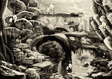 Illustration: Underwater Community Black And White Charcoal Version: Flying Fish; Bridge; Stone Stairs. A Harmonious Community. Story With Fantastic Cartoon Style Scene Wallpaper Background Design.