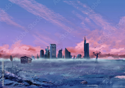 Canvas Prints Light pink Illustration: Between the City and the Wilderness. Fantastic Cartoon Style Scene Wallpaper Background Design with Story.