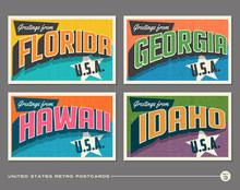 United States Vintage Typography Postcards Featuring Florida, Georgia, Hawaii, Idaho