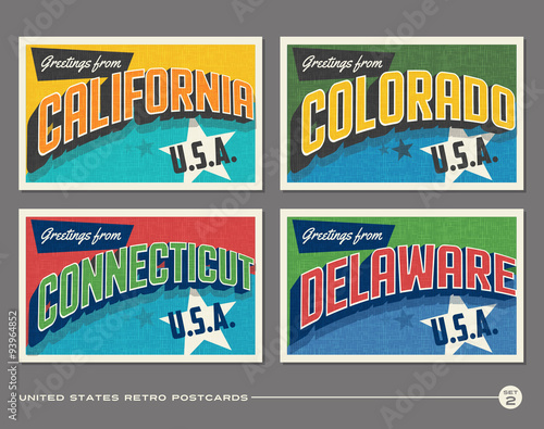 Photo  United States vintage typography postcards featuring California, Colorado, Conne