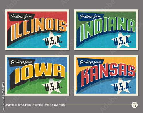 Fotografie, Obraz United States vintage typography postcards featuring Illinois, Indiana, Iowa, Ka