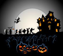 Halloween Pumpkins With Costum...