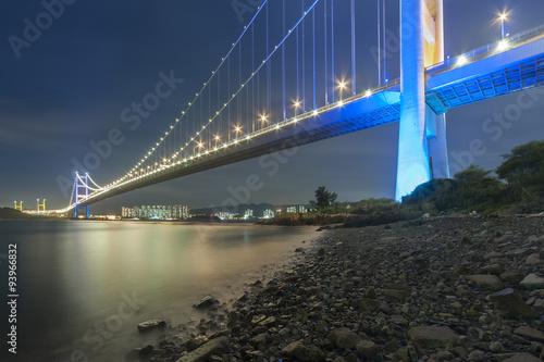 Tsing Ma bridge in Hiong Kong at dusk Poster