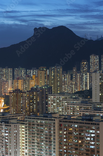 Hong Kong City skyline and Lion Rock Hill at dusk Poster