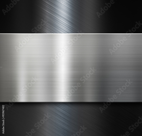 Poster Metal metal plate over black brushed metallic background