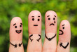 Finger art of people. The concept of a group of people with different personalities.