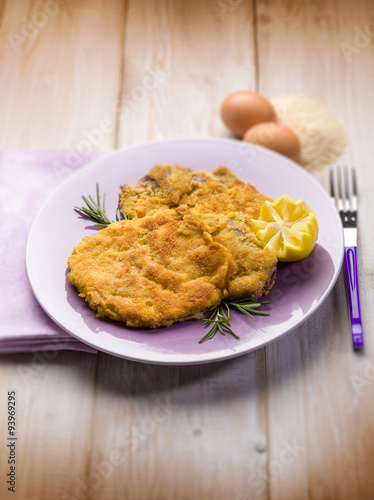 milanese cutlet traditional italian recipe, selective focus Wallpaper Mural
