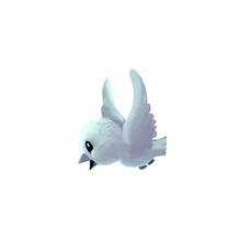 Illustration: Snow Bird. A Tiny Creature Lives Near The North Pole. Fantastic Cartoon Style Character Design.