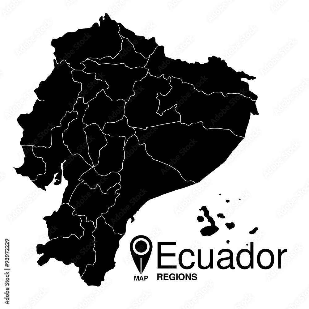 Regions map of Ecuador Foto, Poster, Wandbilder bei EuroPosters