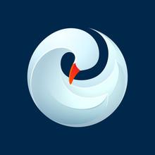 Twist Volume Goose, Swan, Bird In Vector