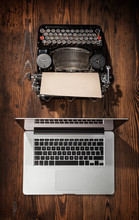 Old Typewriter With Laptop, Concept Of Technology Progress