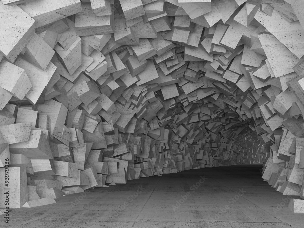 Turning concrete tunnel interior, 3d render